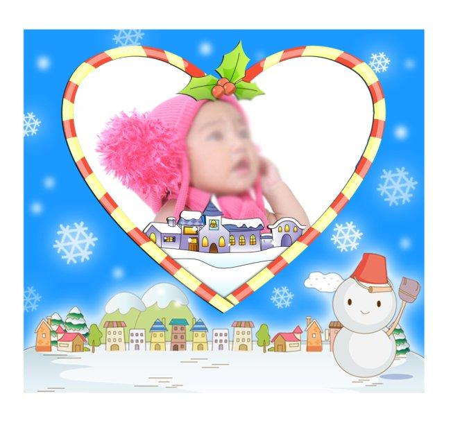 可爱雪人相片模板