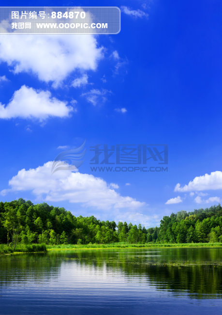 蓝天白云青山碧水高清晰风景图片