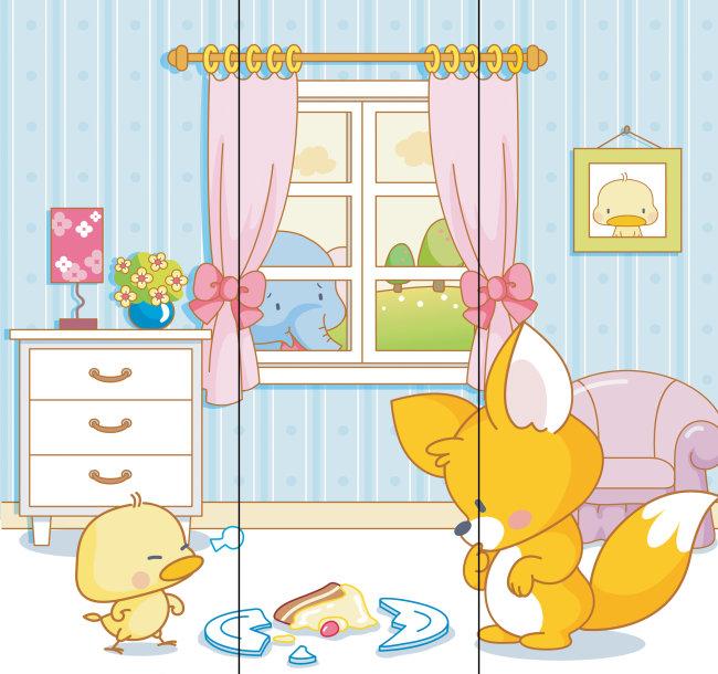 幼儿园窗户动物