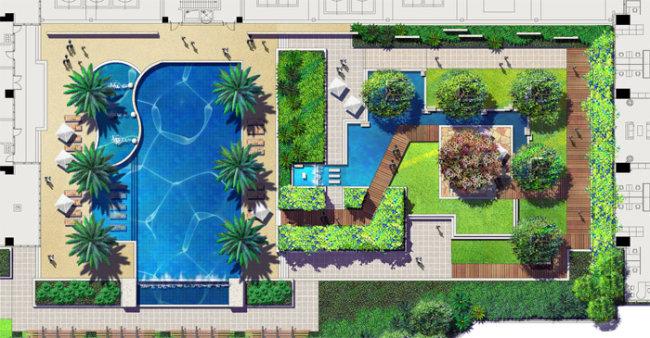 【psd】某商业建筑屋顶花园景观设计彩色平面图图片