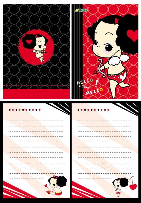 笔记本 记事本 本本封面设计 全套设计 封面封底 内页设计 卡通可爱