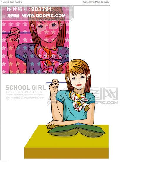 >校园女孩  校园女孩模板下载 校园女孩图片下载 校园女孩 卡通女孩