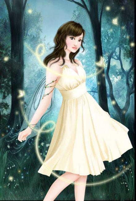 美女插画林中精灵