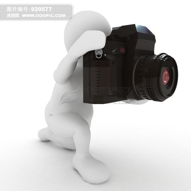 拿着大相机拍照的可爱3d小人