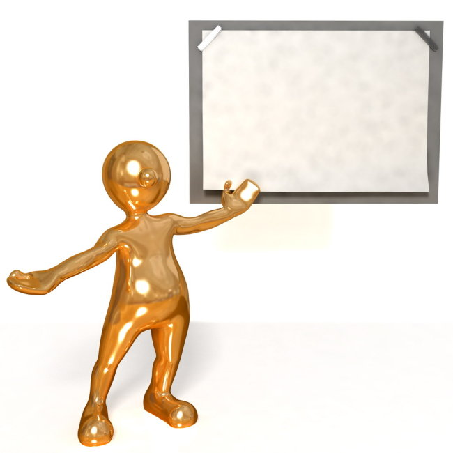 金色3d小人和空白黑板设计素材下载
