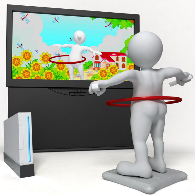 3d小人看电视 电视机 音箱 向日葵 蜻蜓 房子 卡通房子 侧面视角 横图