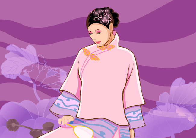 古代女子插画无框画设计素材图片