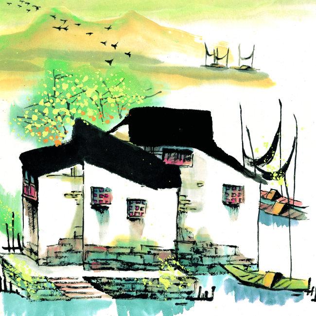 船舶 船只 船 笔触感 笔触 毛笔绘画 国画 水彩画 水彩 水彩风景 意境