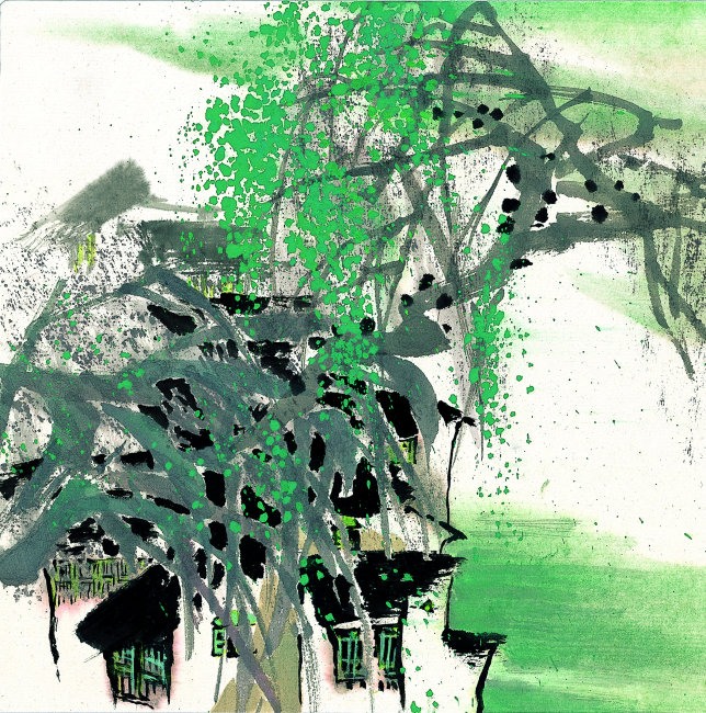 风景水墨插画模板下载 风景水墨插画图片下载 树枝 树叶 绿树 房子