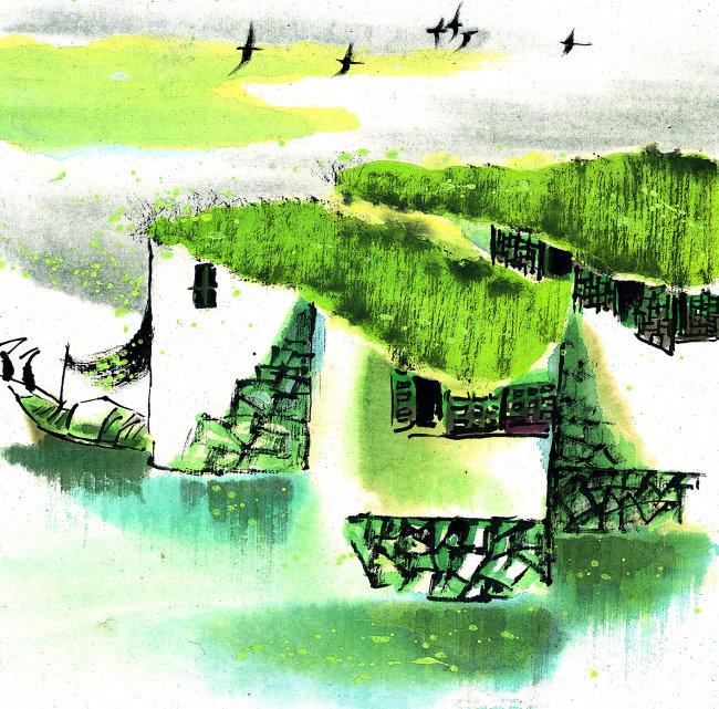 风景绘画模板下载 风景绘画图片下载 风景绘画写意 房子 中国画 绘画