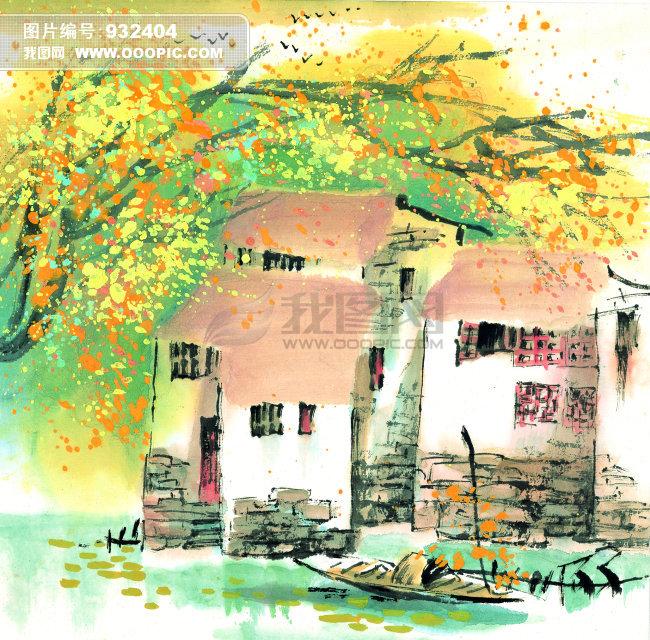 风景绘画写意模板下载 风景绘画写意图片下载 风景绘画写意 房子