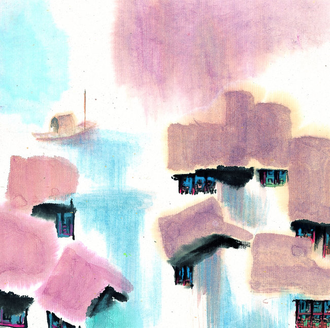 背景 绘画 中国艺术 色彩斑斓 朦胧 梦幻 中国风 小桥流水 中国古建筑
