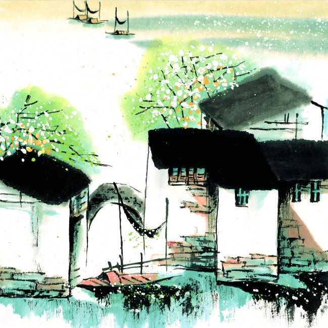江南彩色简笔画