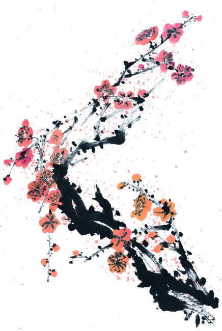 水墨 鲜艳 红色 中国艺术 盛开 旺盛 生命力 方图 彩色图片 梅花