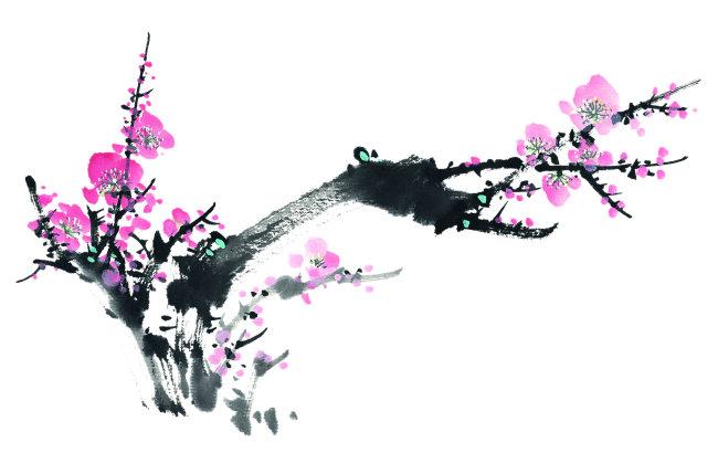 作品手绘花叶子茎花瓣红色洋红冬天花蕊清新自然美特写近景水平构图横