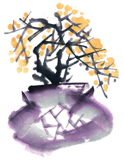 梅花      手绘 花 叶子 茎 花瓣 黄色 冬天 花蕊 花盆 清新 自然美
