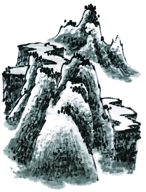 国画 手绘 墨痕 彩色 中国文化 山水 山水画 景色 迷人 壁画 挂画 墙