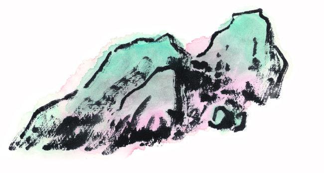 绘画 山石 水墨画 国画 手绘 墨痕 彩色 年画 中国画 美术工艺 中国