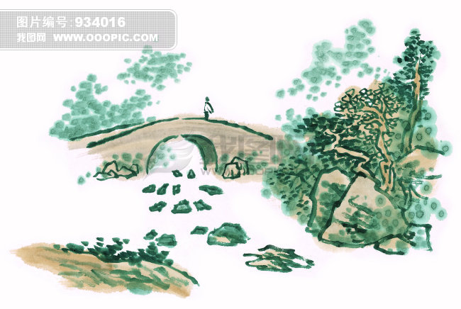 山谷 景色 迷人 壁画 挂画 墙画 装饰画 无框画 小桥流水 溪水 河流