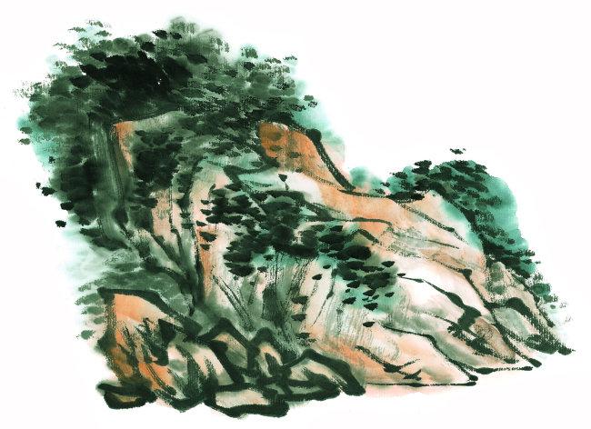 传统文化 水墨画 水墨 彩色 风景画 树 山石 岩石 特写 横图 彩色