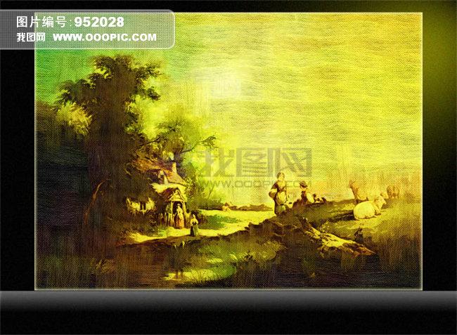 油画a 风景油画 秋天油画-壁纸 墙画壁纸设计素材下载 室内装饰 无框画