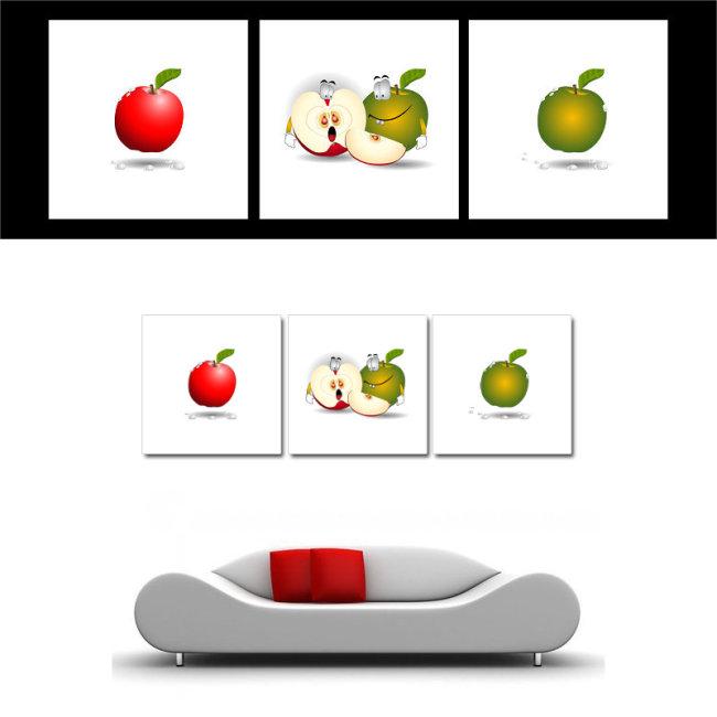餐厅逗趣苹果无框装饰画ai矢量图片下载