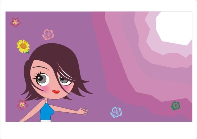 大眼美女卡通模板下载(图片编号:960578)
