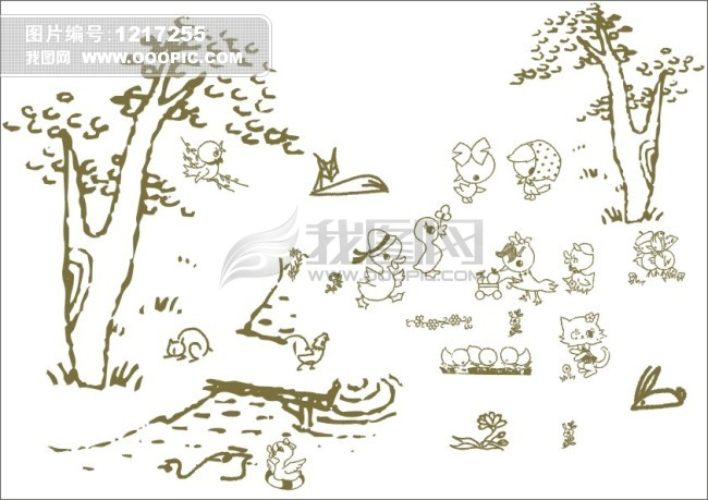 动物聚会-手绘画