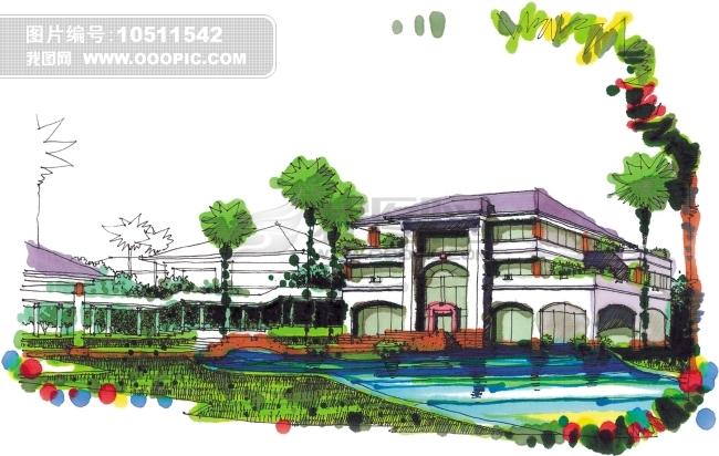 建筑设计水彩画效果图图片下载