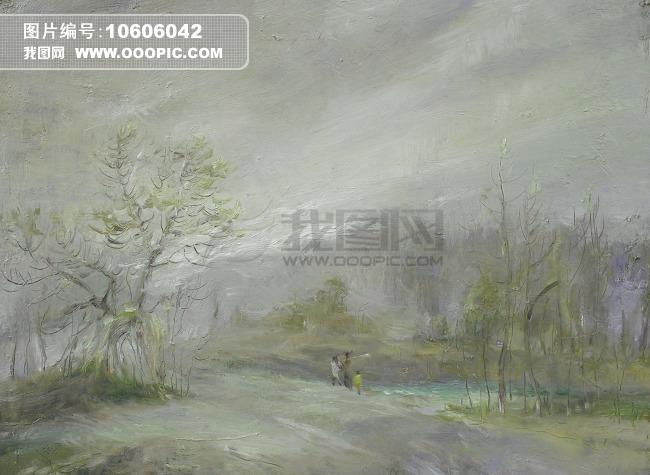 乡间小路油画