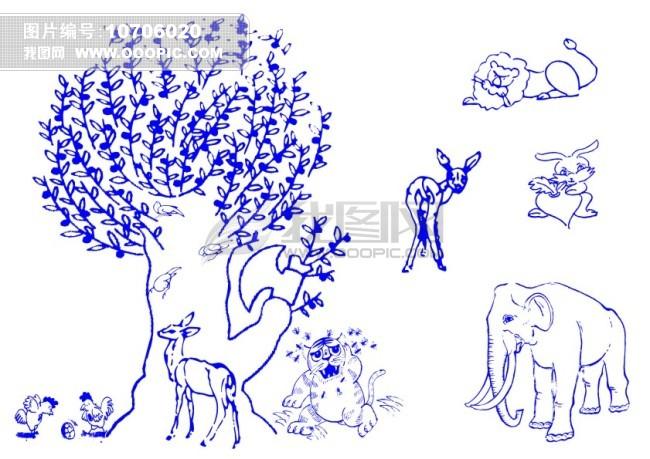 大树卡通动物-线条画