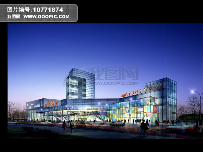 沿街商业建筑夜景亮化效果图 高清图片