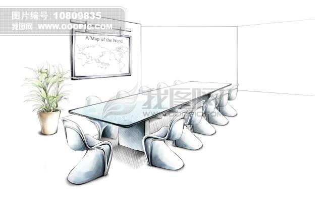 会议室顶棚手绘设计图展示