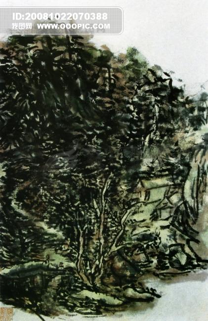 山水画 临摹 作品 水墨 背景 色彩 书法 杰作 黄宾虹作品 商业插画 商务