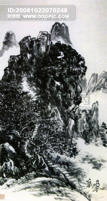 山水画 临摹 作品 水墨 背景 色彩 书法 杰作 黄宾虹作品模板下载