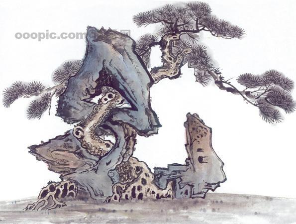 [jpg]黄山迎客松 松树 树干 树枝 中华艺术绘画
