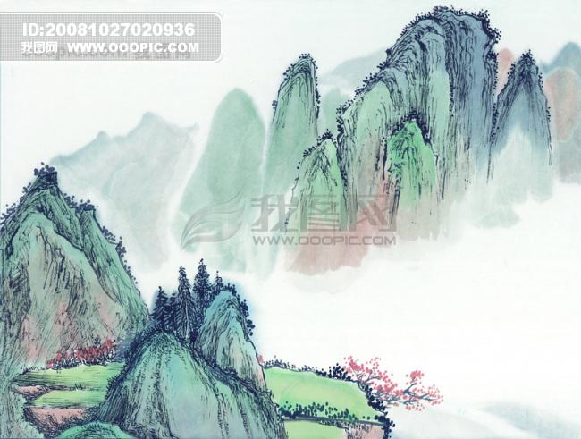 艺术 峰回路转/山峰山峦峰回路转山沟 山脉 山顶中华艺术绘画