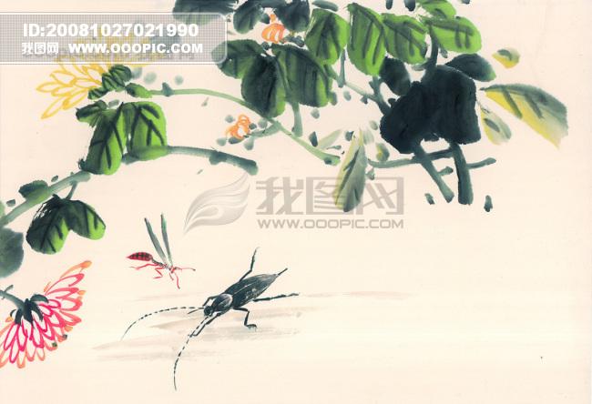树枝 花瓣 水墨画 昆虫 蚂蚱 蛐.
