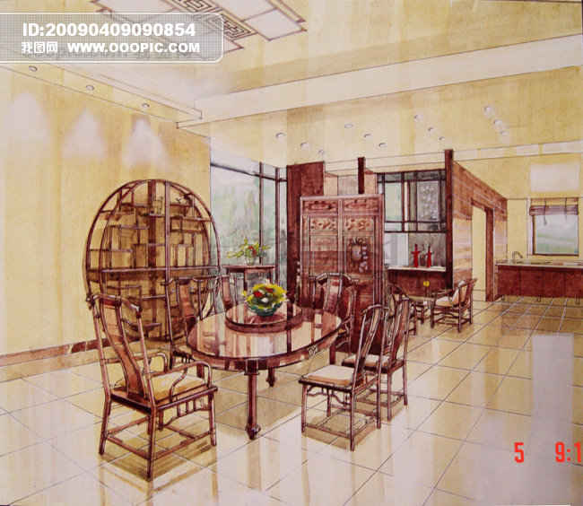 中式餐厅手绘设计