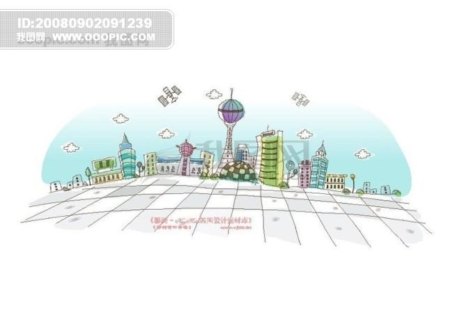 城市风景 卡通城市漫画手绘