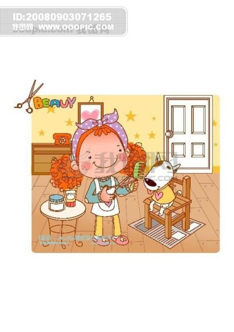 可爱胖女孩 卡通漫画游玩生活 矢量素材矢量图片 hanmaker韩国设计
