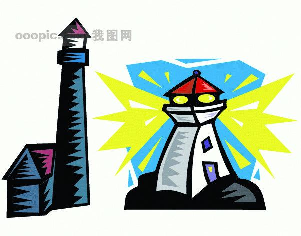矢量 矢量风景建筑 2款灯塔建筑矢量图eps