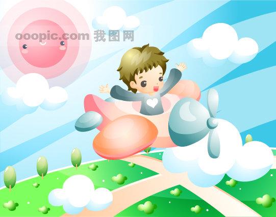 关键词:韩国矢量儿童插画儿童小孩底图背景白云小树矢量树太阳笑脸