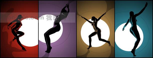 矢量艺术素材 人体艺术 舞动美女 舞动的人体 动