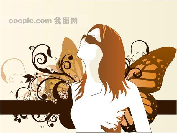 欧美花纹花框花边人物背景腾图