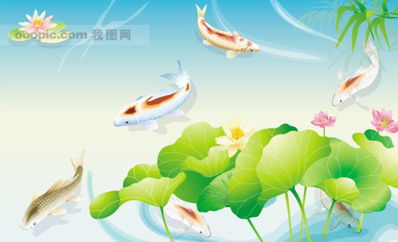 精美矢量国画图片之鲤鱼荷花池塘图片素材资源