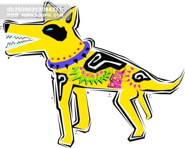 墨西哥手绘动物矢量素材狼