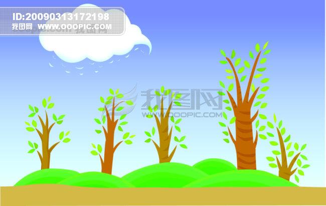 自然风景矢量图免费下载 自然 风景 矢量图 草地 田野 春天 卡通 树木