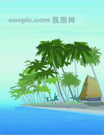 [ai] 海滩风景模板下载 海滩风景图片下载 海滩 帐棚 棷子树