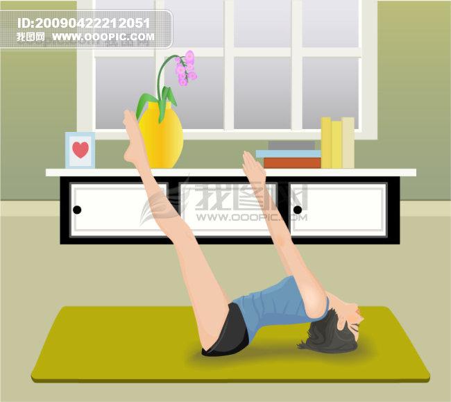 矢量运动素材 运动 健身 可爱女孩